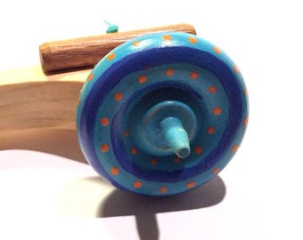 Spinning Top with Launcher blue w orange dots