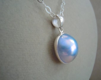 Waterlily -- One of a Kind -- Violet Mabe Pearl & Sterling Silver Chain Necklace -- Perfect Pendant Collection