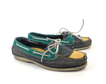 Boat Shoes Vintage 1980s Dexter Dex Blue Leather Women's 10 M
