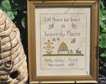 Primitive Cross Stitch Pattern - Let There Be Bees PDF
