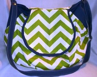 Purse Shoulder Bag Crossbody Large Bag Flap Lime Green and White Chevron Royal Blue Slouchy Adjustable Strap Pockets