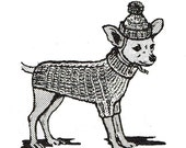 Cable Knit Sweater PATTERN 7415 for Chihuahua Dachshunds & other Small dogs in PDF instant download