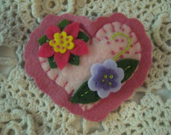 Ladies Pin Handmade Brooch a Heart Made of Wool Felt with Hand Embroidery and Whimsical Flowers 3x3 inches