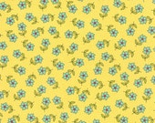 Fabric - The Sweet Life by Pat Sloan - Turquoise Flowers on a Yellow Background - 43053 13 Yardage