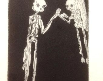 Animated Skeleton intaglio mezzotint