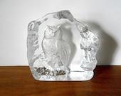 Vintage Mats Jonasson Great Horned Owl Art Glass Sculpture, Paperweight, Swedish Art Glass