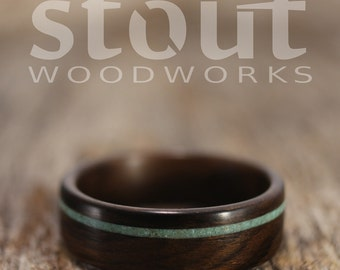 Size 13.25 - Ziricote With Offset Turquoise Inlay Bentwood Ring - Handcrafted Wooden Ring