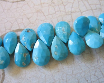 Shop Sale..  9-10 mm, SLEEPING BEAUTY Pear Briolettes Beads, Luxe AAA, Robins Egg Blue, untreated, december birthstone 89