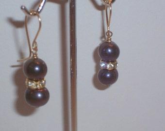 Handmade Freshwater Gray Pearl Earrings with Rhinestone Rondells - Pierced