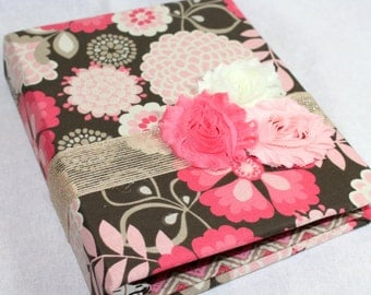BABY Journal, Baby Memory Book, Milestone Book, Floral Fabric, Coral, Pink, Burlap, Mocha Brown, Custom Color Schemes available