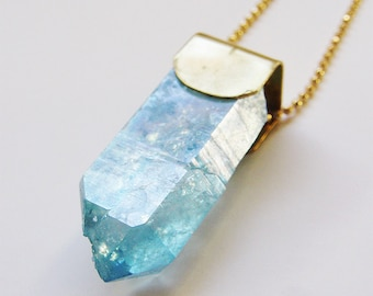 Aqua Aura Crystal Point Gold Necklace