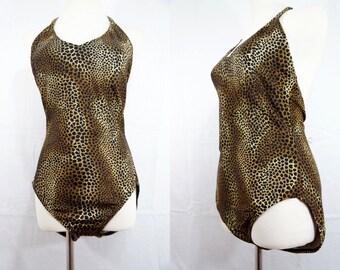 1980s Catalina Leopard Swimsuit Plus Size Large Animal Print Halter One Piece Bathing Suit