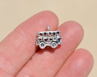 1 Silver Double Decker Bus Charm SC2696