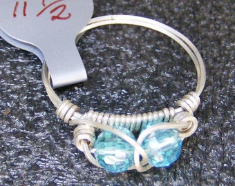 Wire Wrapped Ring - Gorgeous Handmade - Teal Blue Crystal in .925 Sterling Silver, Size 11.5, by JewelryArtistry - R314
