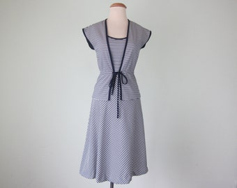 70s nautical stripe dress & peplum jacket navy white summer sundress (xs - s)