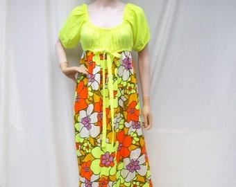 70s Neon Floral Maxi Dress size Medium Empire Waist
