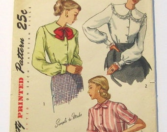 1940s Blouse Pattern: 40s Blouse in Three Styles, Simplicity 2381