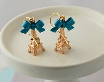 Light Blue Gold Eiffel tower earrings, denim blue earrings
