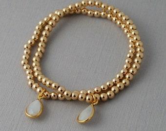 14k gold fill bracelet with moonstone charm stretch bracelet