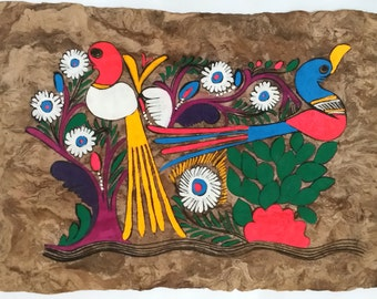 MEXICAN BARK PAINTINGS, birds of paradise horizontal, handmade art, indigenous people of Mexico, folk art, vibrant color, Otomi Indians