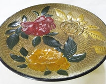 Nasco pedestal plate lacquer ware handcrafted japan vintage floral home decor