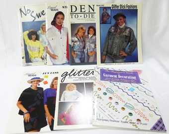 Vintage craft magazine pattern decorting paint on clothing stencils lot of 7