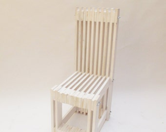 reclaimed wood dining chair handcrafted by order distressed white finish