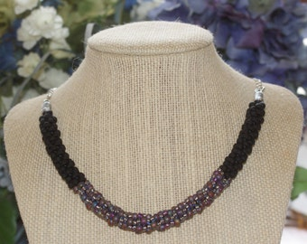 Black and purple beaded Kumihimo braid necklace