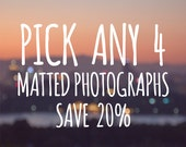 DISCOUNT SET, 20% off, Any three 5x7 or 8x10 Signed and Matted Fine Art Photographs, gift idea set photo collection buy three and save