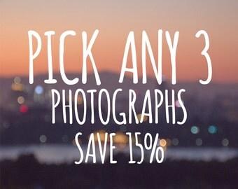 DISCOUNT SET, Pick Any three photographs, 5x7, 8x10, 11x14  fine art photography, SAVE 15%, wall art, home decor, gift set, large photograph