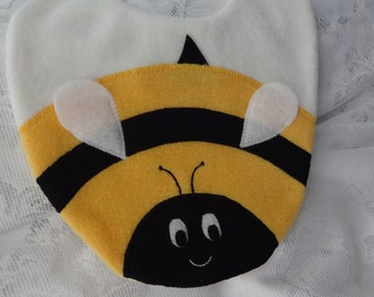 Bee Bib, Bumble Bee Bib, Infant Baby Bib, Animal Reversible Fleece Bib, Animal Bib, Baby Shower Gift, Bumble Bee Bib, Baby Bib, Newborn Gift