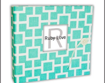 BABY BOOK | Aqua Mid Century Modern Baby Book | Ruby Love Baby Memory Book