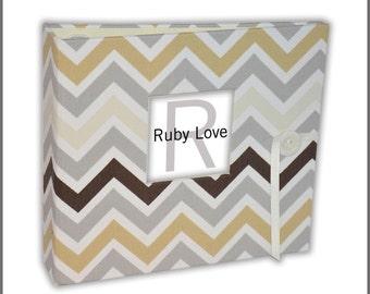 BABY BOOK | Muted Neutrals Chevron Stripe Album | Ruby Love Modern Baby Memory Book