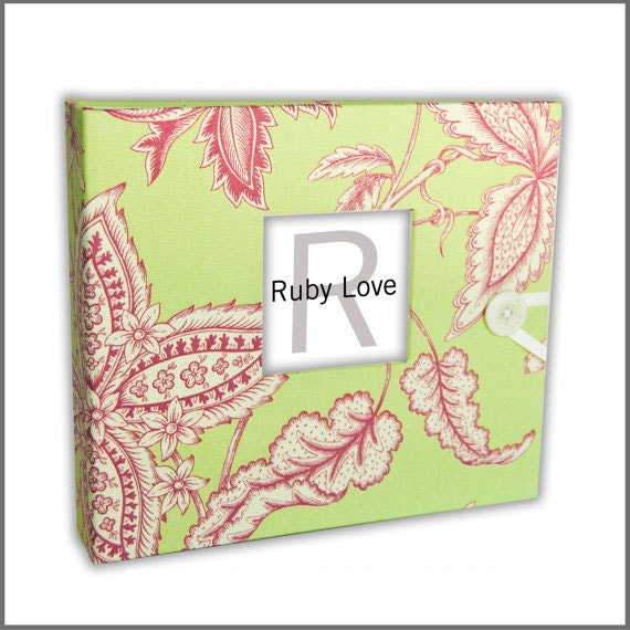 Pink and Lime Paisley Baby Book | Ruby Love Modern Baby Memory Book