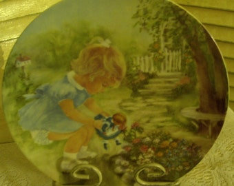 Vintage Porcelain Cabinet Plate - Gorgeous - Stop and Smell the Roses - Rusty Money