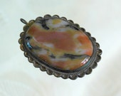 Vintage Natural Agate Pendant, Large, Unmarked Sterling Silver, Navajo, Fancy Scalloped Bezel, Dark Patina, Great Old Condition