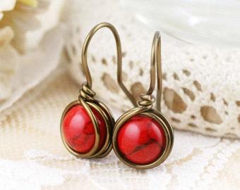 Serene drop earrings - dyed howlite