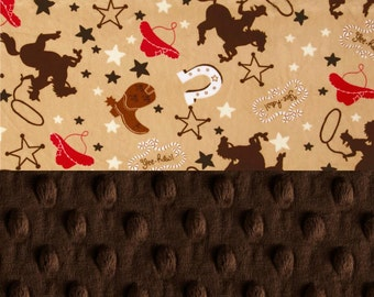 Minky Baby Blanket Boy, Personalized Baby Blanket - Cowboy Red Brown