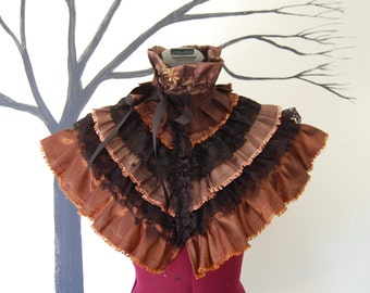 Victorian inspired steampunk goth gothic fashion mini cape shoulder shrug wrap brown ruffles and lace