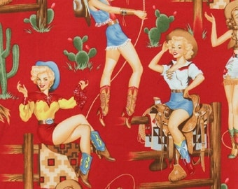 Back in the Saddle Cowgirl Fabric Vintage Look on Red by Alexander Henry Fabrics