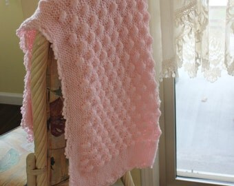 Pink Knit Baby Girl Blanket with crochet edge Shower Gift, Travel, Stroller Blanket, Car seat cover, Crib Nursery, car seat tent canopy