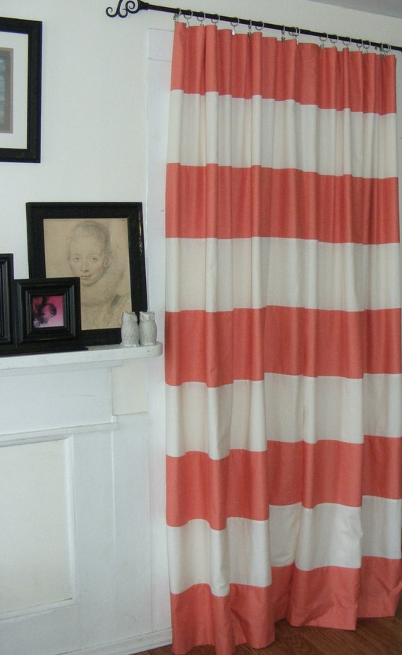 Handsewn Horizontal Stripe Curtains Draperies Window Treatment Coral ...