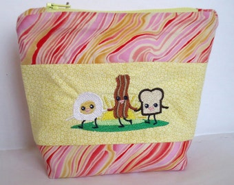 Bacon Egg Toast Machine Embroidery Design. Cosmetic Bag. Toiletry Bag. Supplies Bag.  Yellow Orange Pink. Handmade
