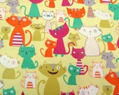 2602B -- Lovely Cats Fabric in Lime Green , Kawaii Cats Fabric , Animal Fabric