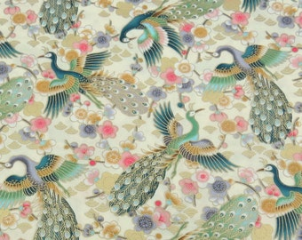 2555A - Gorgeous Peacock with Gold Print Fabric in Light Yellow , Bird Fabric , Animal Fabric