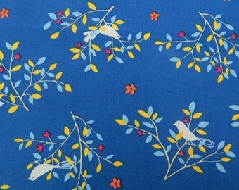 2604B - Lovely Bird in Tree Fabric in Navy Blue , Bird Fabric , Tree Fabric
