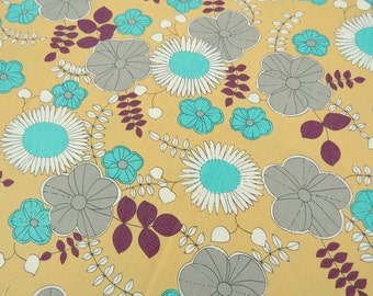 2608C - Sale - Sunflower, Poppy and Vine Leaf in Mustard Yellow , Flower Fabric , Floral Fabric