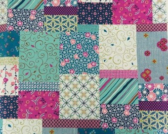2609B - Sale - Flowers Patchwork Print Fabric in Blue, Flower , Cherry , Fern , Check , Kimono , Zentangle