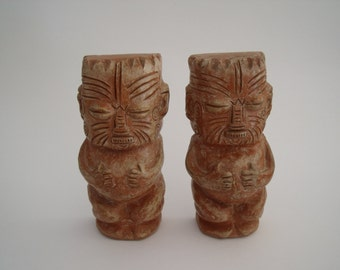 Vintage Pair of Terra Cotta TIKI Bookends Approx. 6 1/4 inches high