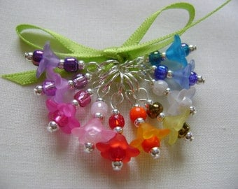Rainbow Flowers Stitch Markers for Knitting or Crochet